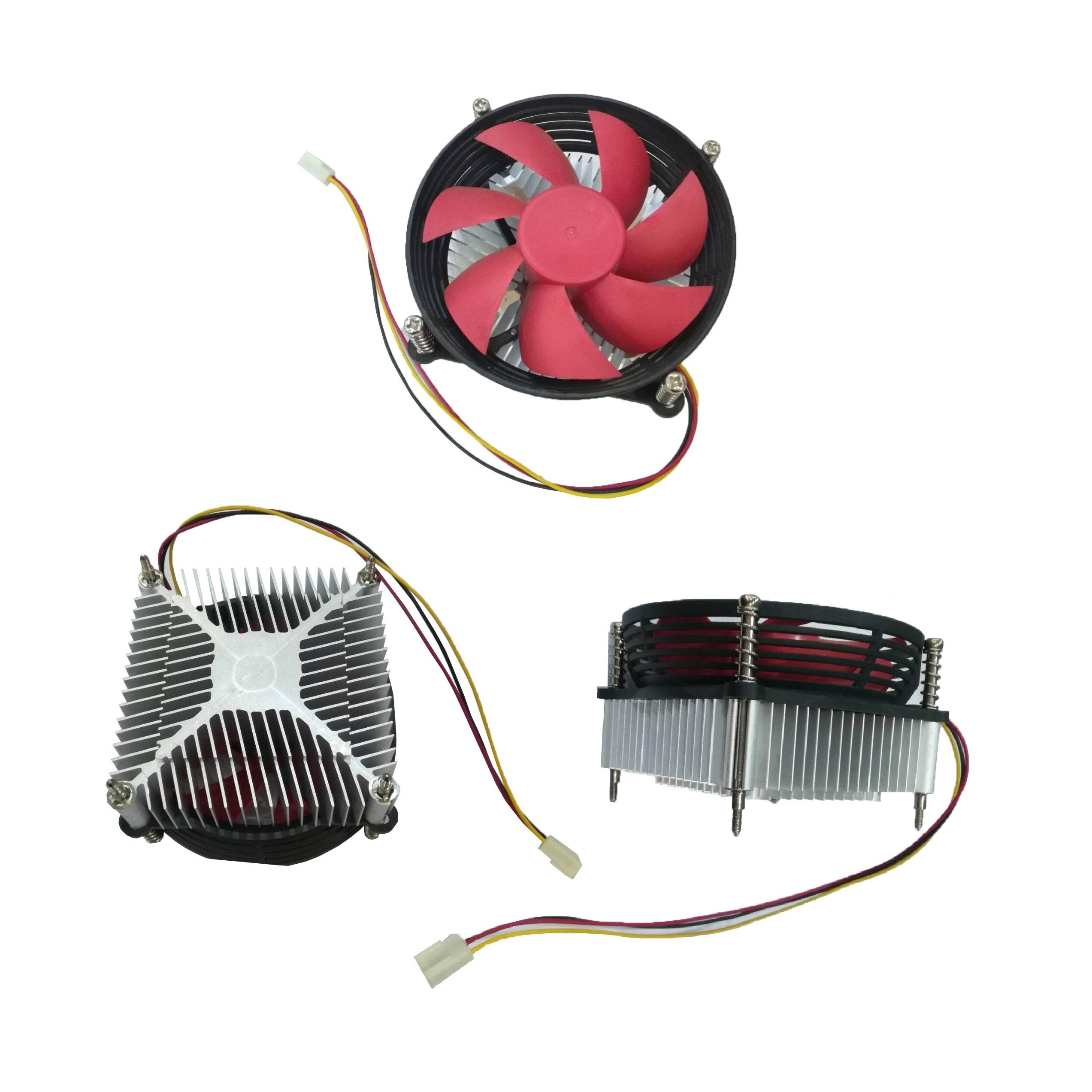 Cpu fan pc air cooler 775 with Black anodized aluminum heatsink and red fan vent stock for deep cooling