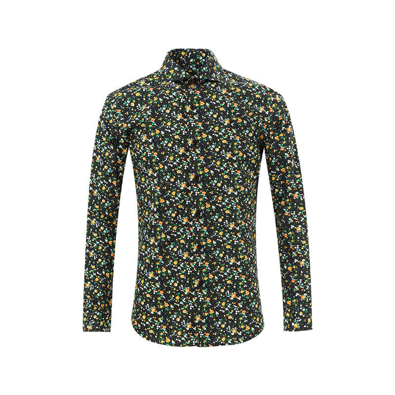 2021 LATEST 100% COTTON SMALL FLOWERS NEW PATTERN DIGITAL PRINTING SHIRTS HIGH QUALITY WHOLESALE FACTORY DRESS SHIRT FOR MEN