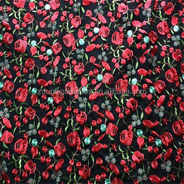 Hot sale 100 polyester rose embroidered tulle lace fabric