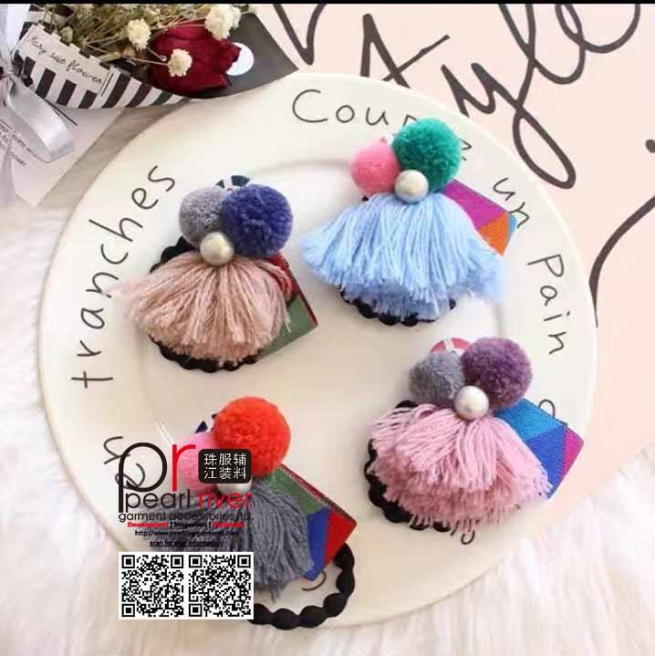 100% Cotton colorful pom pom ball fringe tassel for leisure accessories