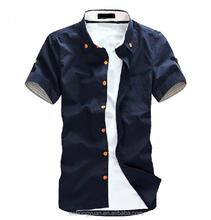 Navy blue cotton made jean cool boy casual summer shirts manufacturer