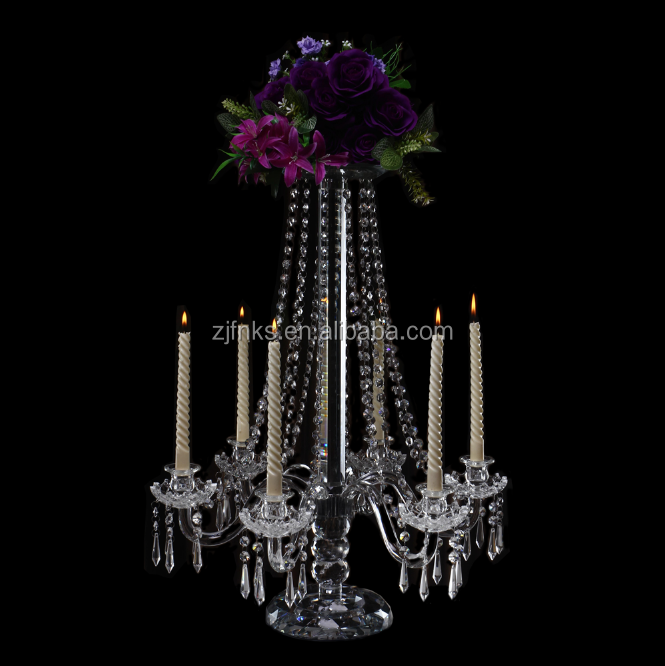 Crystal candelabra 70cm 6 arm candle holder hanging bead crystal candlesticks with flower stand