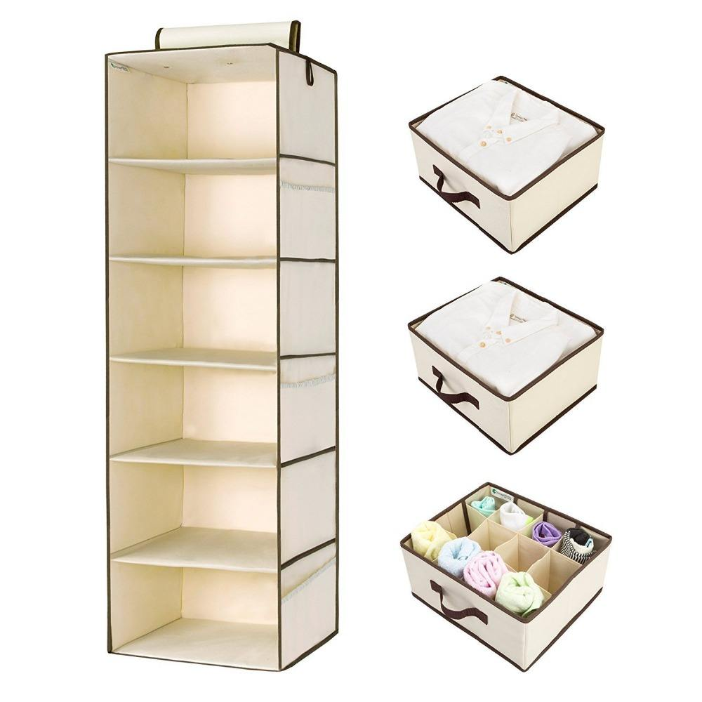 Foldable Non woven fabric 6 shelf hanging closet organizer with 3 drawers