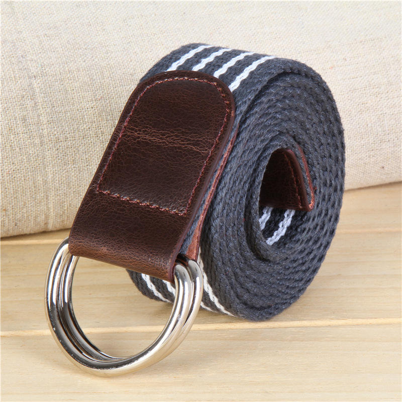 dp109 Grey white Canvas Double D ring Belt for Kids