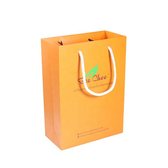 Custom Supermarket Grocery Orange Plastic Paper Bag