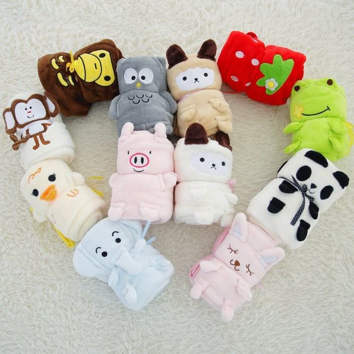 Dropshipping Rolling Cartoon Animal Blanket Baby Roll Soft Plush Fleece Baby Blanket for Newborns Cotton