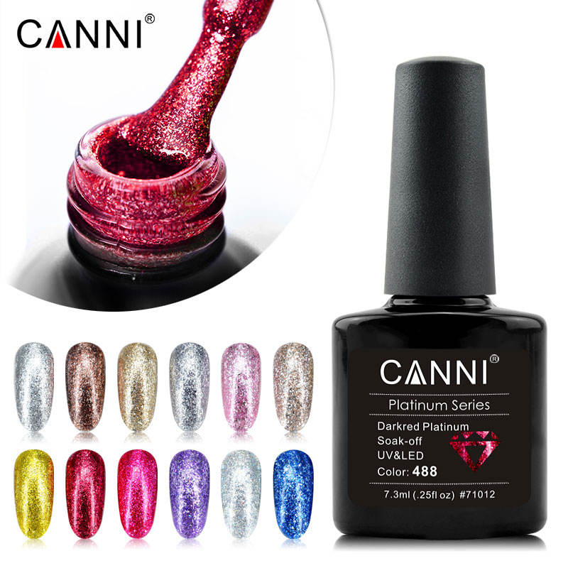 CANNI Nail Art Best Selling Products Of Color Platinum Gel Diamond Supper Glitter Starry Gel Nail Designs Platinum Nail Polish