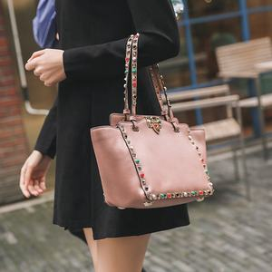 China wholesale women bags with rivets tote hand bag for ladies