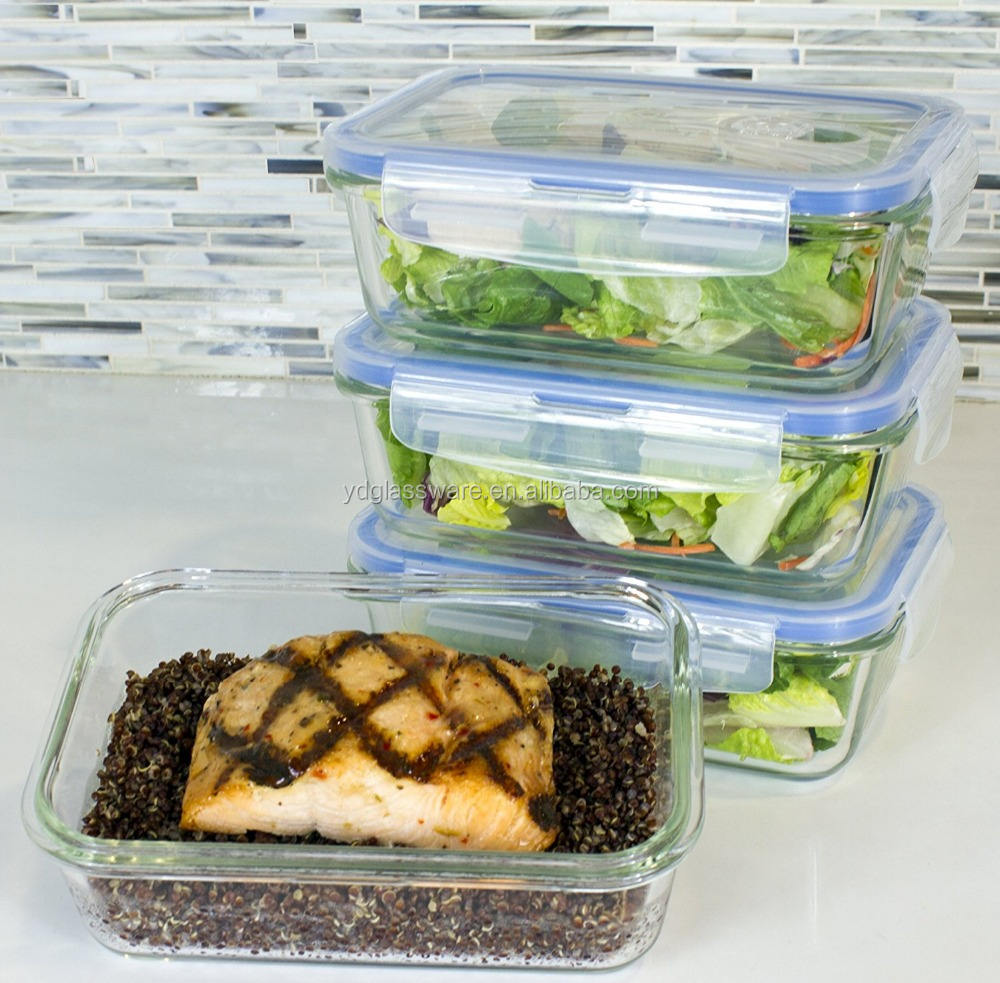 Premium 8pcs Glass Meal Prep Food Storage Container with Snap Lid set