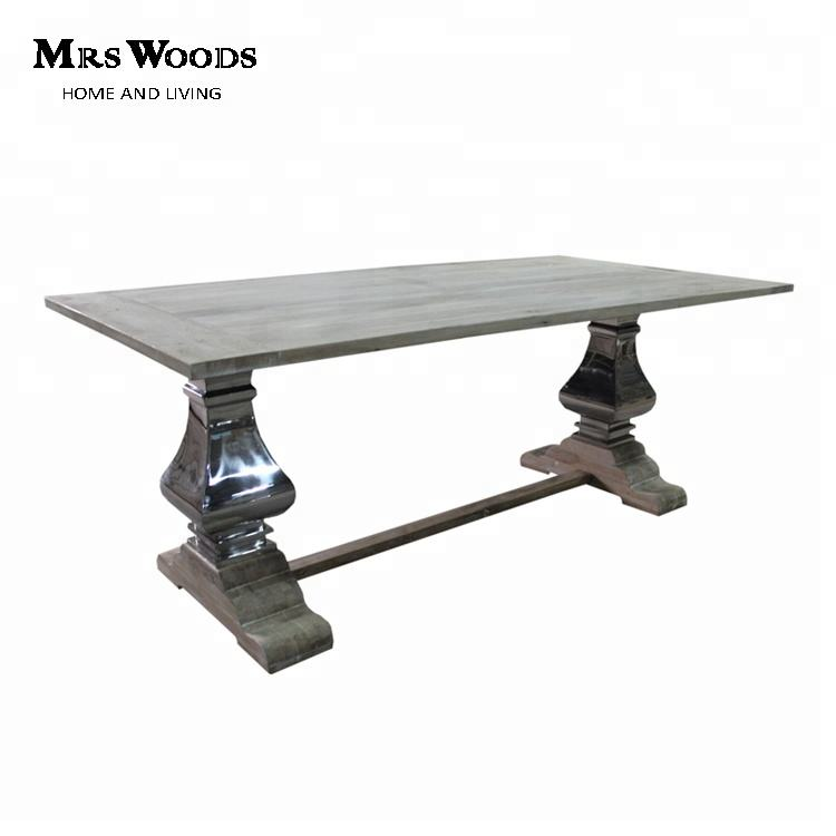 Wood and steel solid oak refectory dining table
