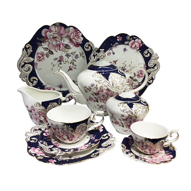 Fancy Floral Embossed Porcelain Fine china Ceramic Coffee Tea Sets With Tea Pot