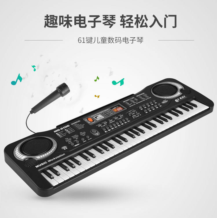Multifunctional 61 standard keys electronic organ keyboard with microphone