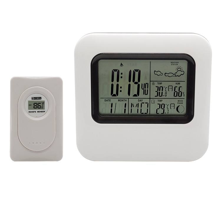 Indoor Outdoor Temperature Humidity Sensor LCD Display RF Wireless Digital Weather Station Desktop Thermometer Clock Forecast
