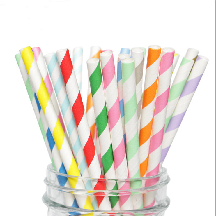 Strip Paper Straw Party Suppliers Striped Cake Sticks Food Decoration Earth Friendly and Bio-degradable disposable Straw