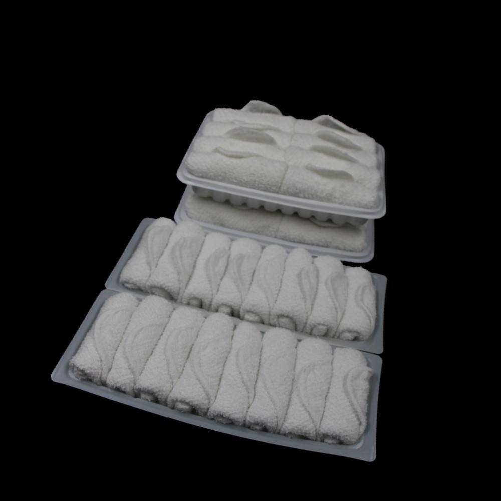 terry white towel in tray for airline/hot and cold towels with tong