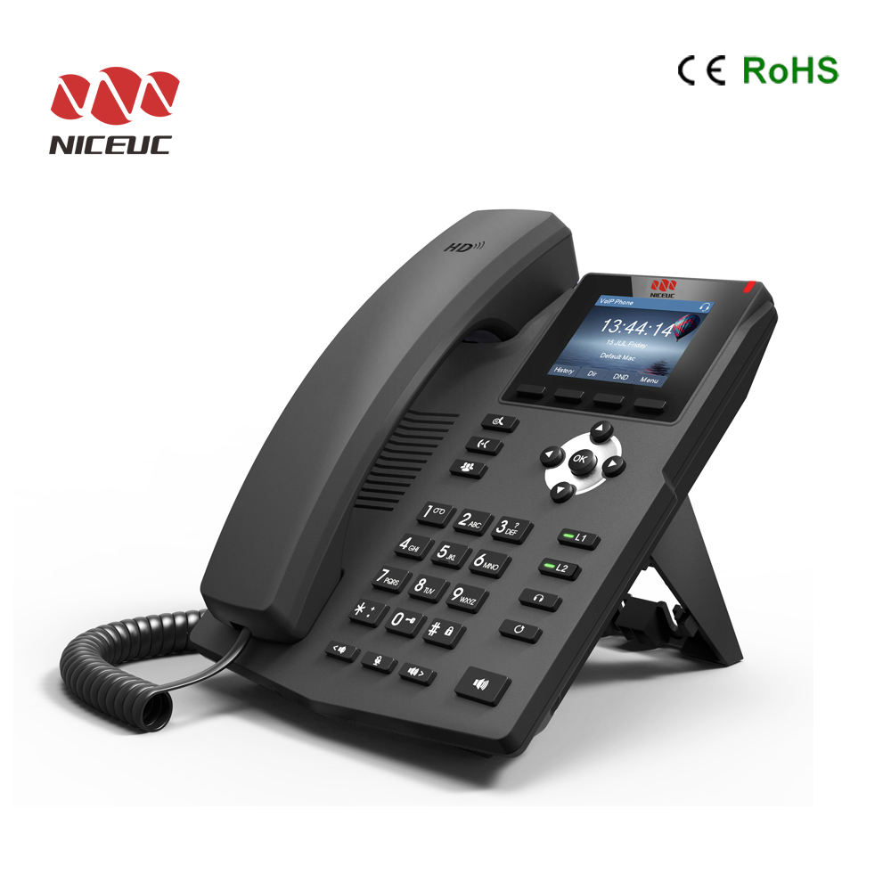 Desk SIP IP Phone 10/100/1000Mbps Internet 2 SIP lines work with VoIP IP PBX
