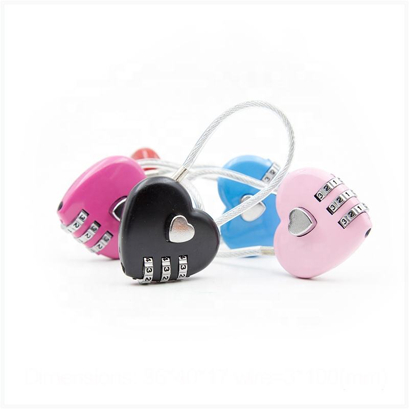 3 digit suitcase luggage cable padlock heart shape combination number lock