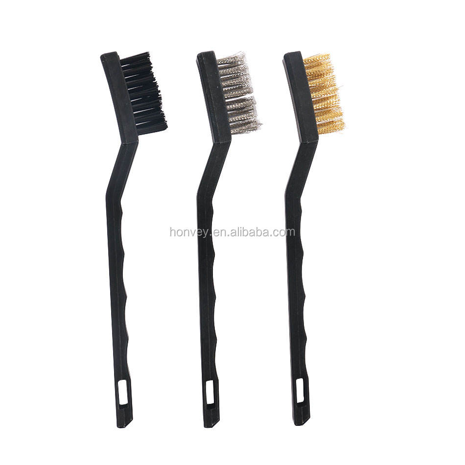 3 Pcs Mini Wire Brush Set Steel Brass Nylon Brushes Cleaning Polishing Detail Metal Rust Clean Tools Home Kitchen Kit