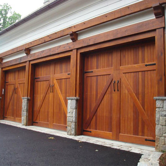 Flat Panel wood door design Automatic Garage Door
