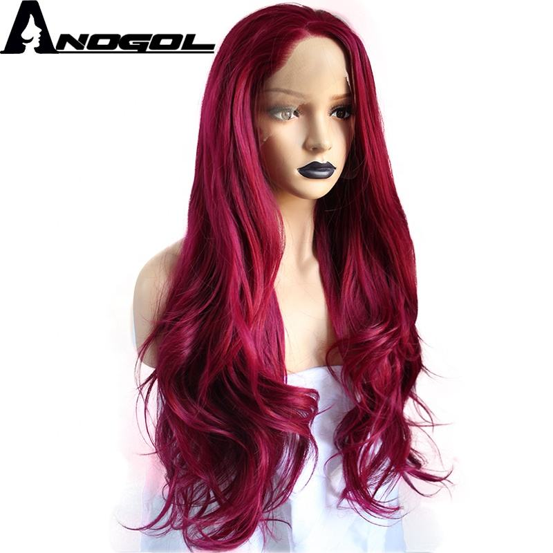 Perruque Lace Front synthétique rouge — Anogol, Perruque Body Wave frontale à dentelle, Perruque rouge en promotion