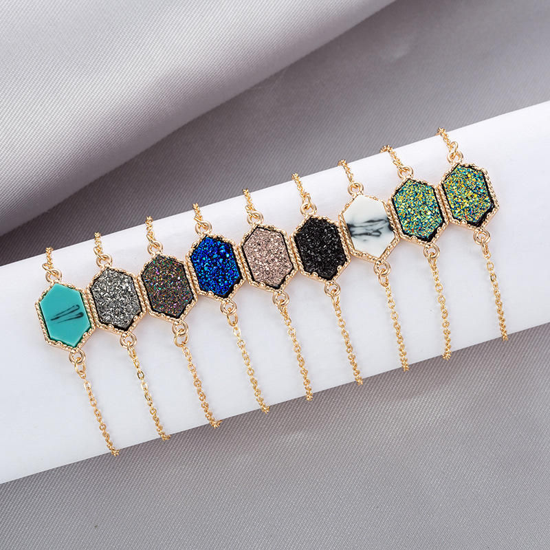 New Arrivals Gold Plated Crystal Stone Chain Bracelet Adjustable Hexagon Druzy Bracelet