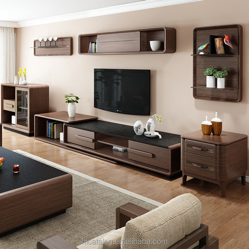 Living room furniture Wood Modern MDF black burning stone top veneered tv stand design