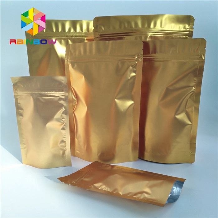 Custom Laminated Gold Aluminum Foil Jewelry Retail Gold Mylar Packaging Bags With Ziplock
