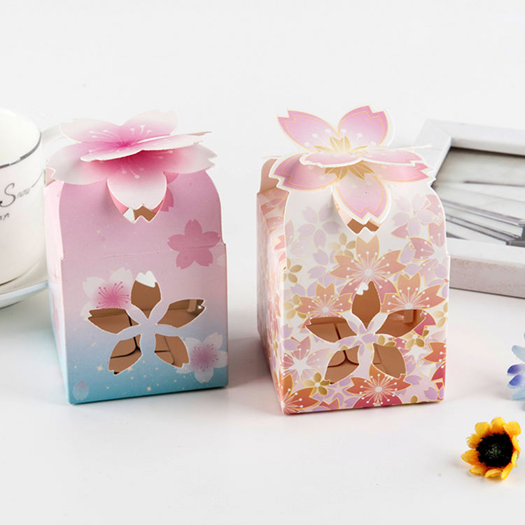 New arrival lotus style wedding favors custom make paper box gift