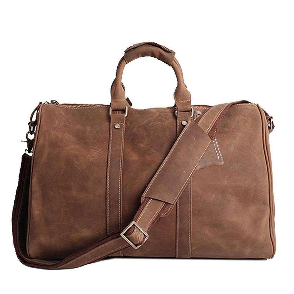 Real Leather Duffel Bags For Men Weekender Overnight Travel Carry On Luggage Bag