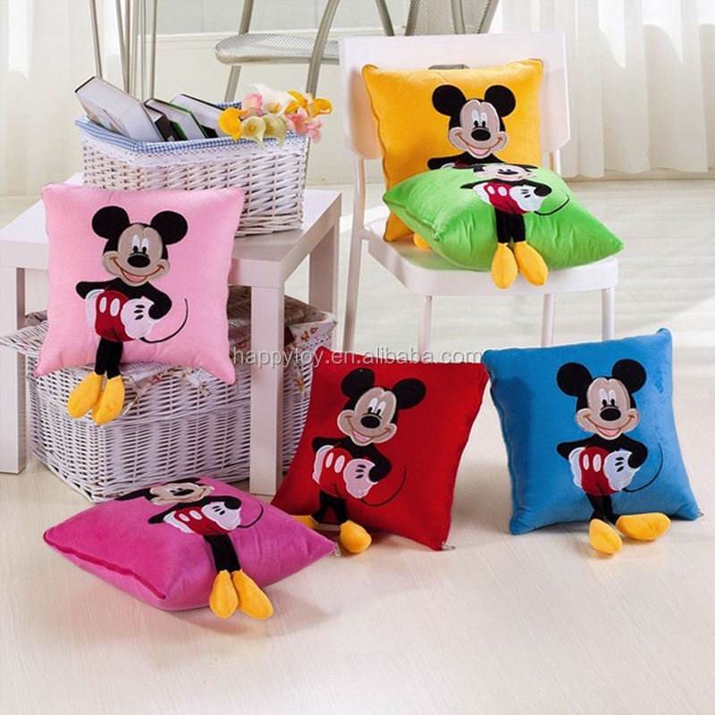 HI CE cute mickey mouse shaped plush round pillow for wholesale plush pillow for girls