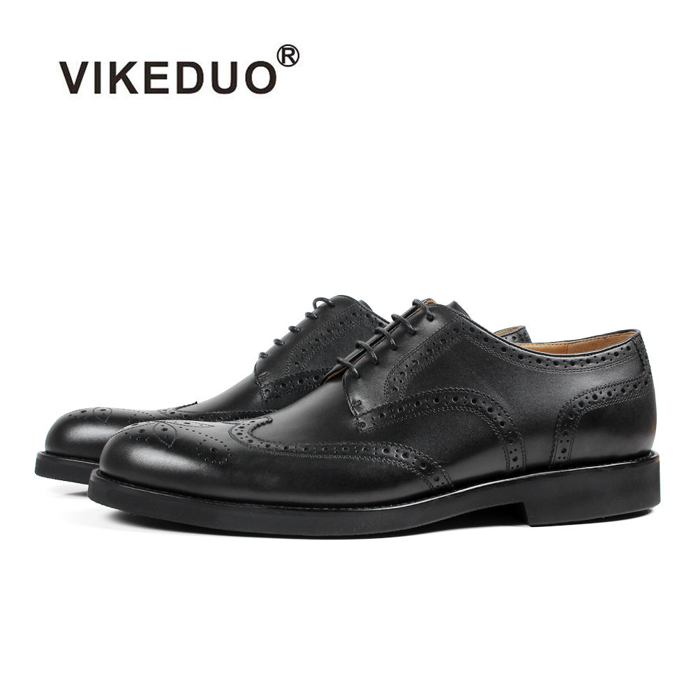 Vikeduo Hand Made New Trending Black Formal Wearing Full Grain Leather Dress Shoes 2019 Brogues Men Shoes