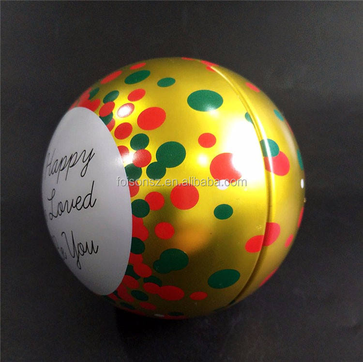 Popular christmas gift tin balls on promotion for xmas business gifts use made by metal tins material from bauble supplier