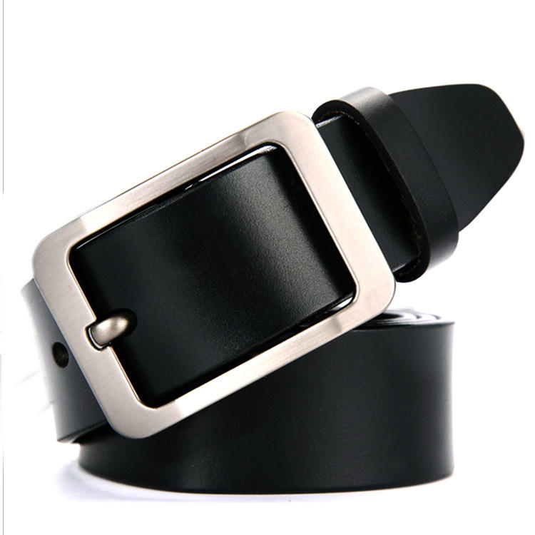 YS-BT022 Guangzhou custom logo ceinture pour homme alloy pin buckle brown and black 100% genuine belt leather belt for men