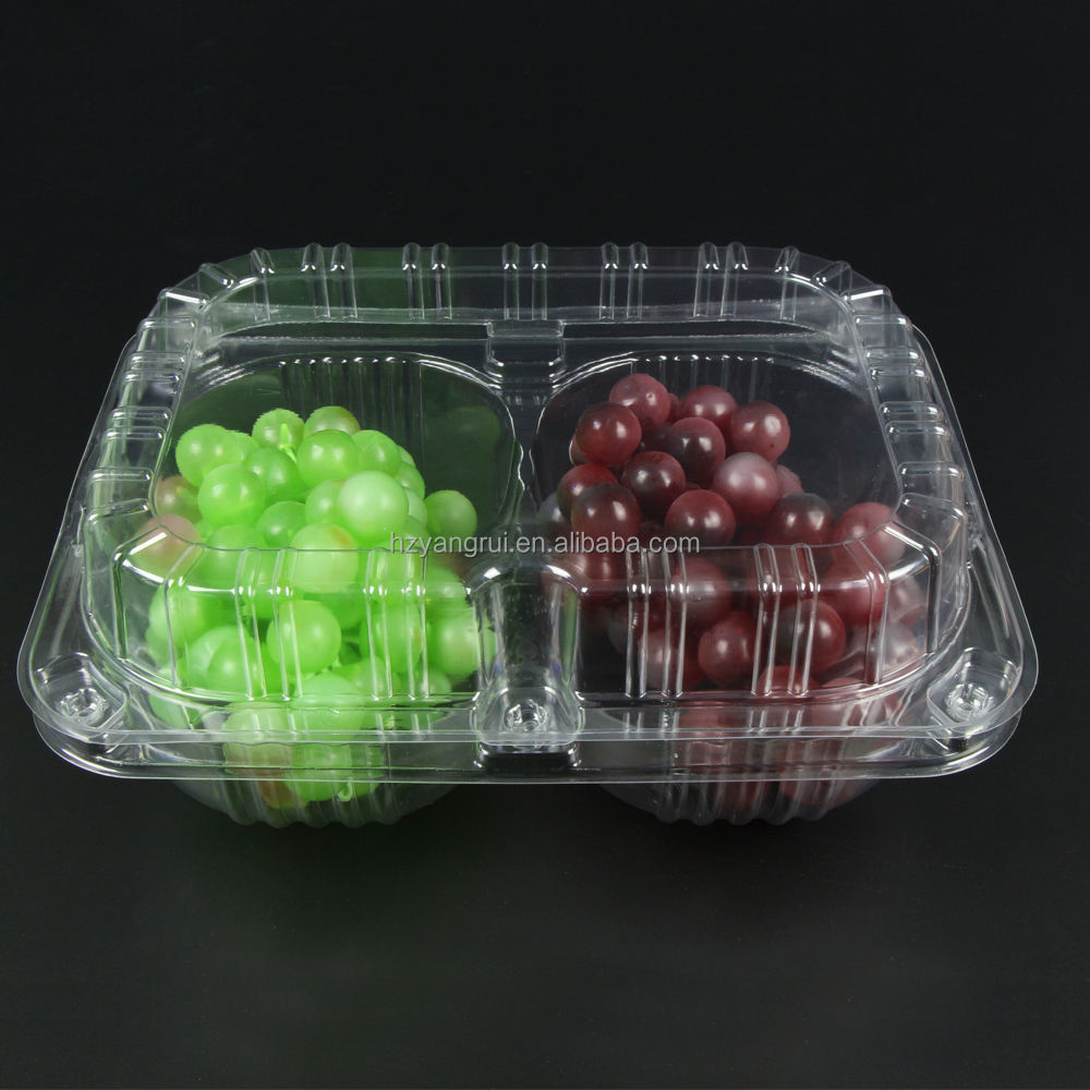 1000g clear plastic fruit foldable packing container for grape packaging