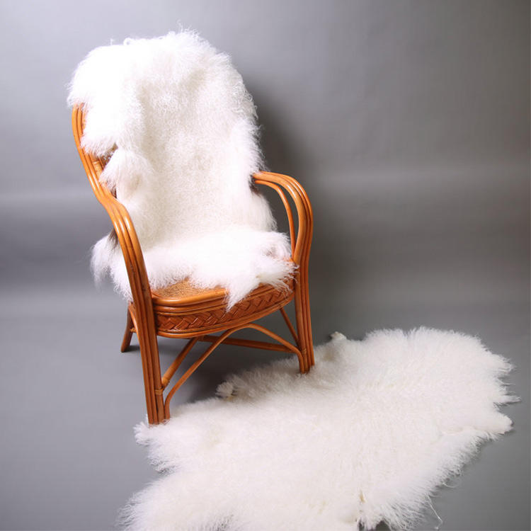 factory wholesale long hair curly mongolian tibet lamb skin/plates/mongolian fur rug
