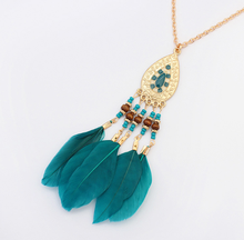 National style fashion elliptic tassel necklace Feather long chain