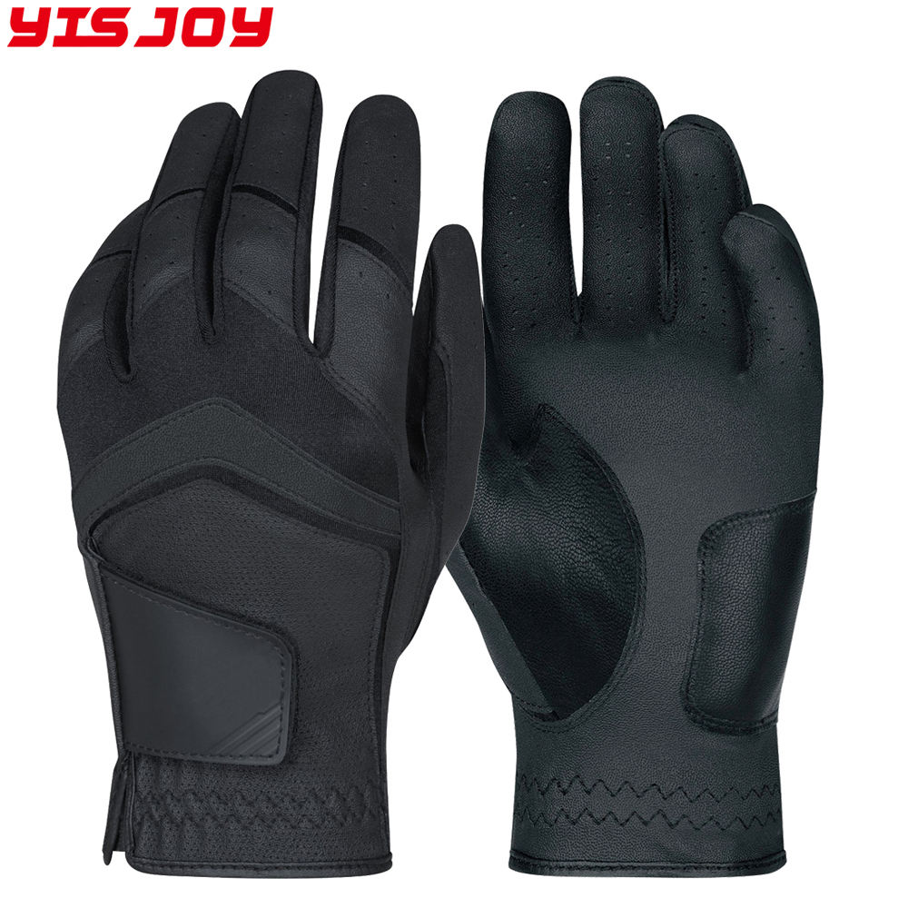 Black color sheep skin leather one piece golf gloves