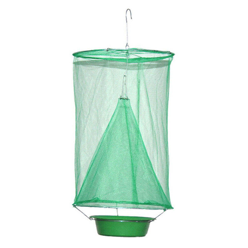 Green Reusable Hanging Flycatcher Folding Fly Net Trap Fly Catcher with Flies Bait Station