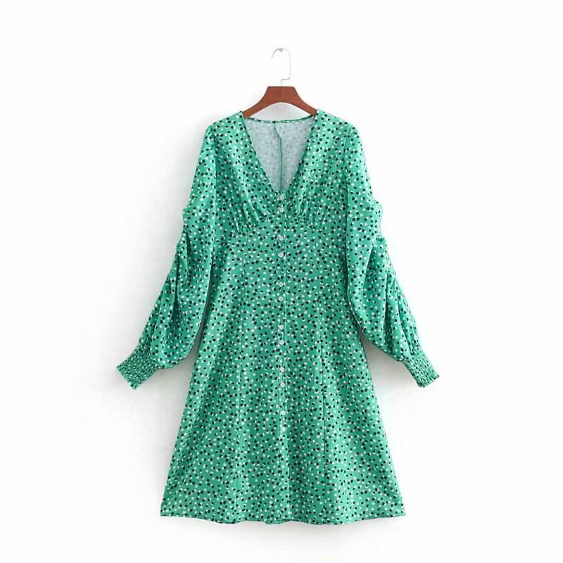 Sexy V neck ruffle decoration flower printed wholesale long sleeve dresses women fashion clothes