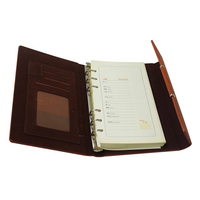Spiral Ring Paper Filler Notebook/Loose Leaf Notebook with Card Holder