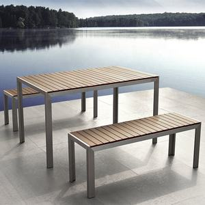 Outdoor table wood steel table bench dining set