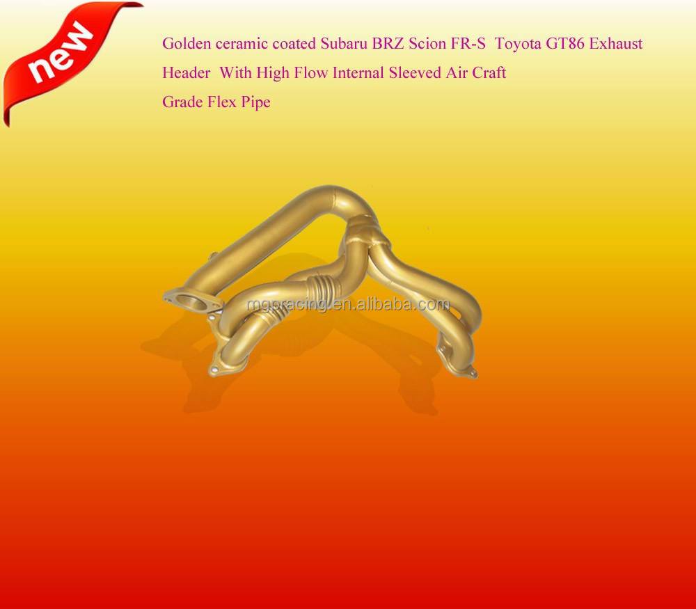 Golden ceramic coated Exhaust pipe/Header for T*oyota GT86, Su*ba*r* BRZ Scion FR-S FA20 4CYL 2013-2015