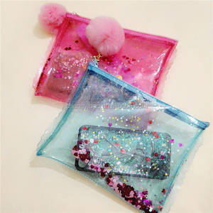 Newest fashion cute girl's glitter pvc cosmetic pouch