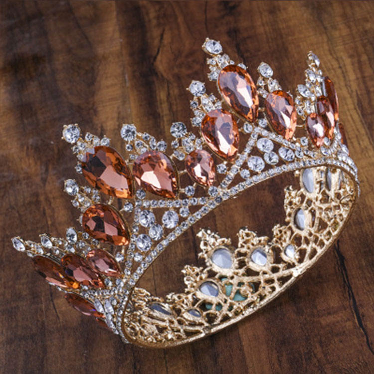 European Noble Jewelry Fashion Queen Crown Designs Bridal Round Full Circle Rhinestone Bridal Crowns and Tiaras