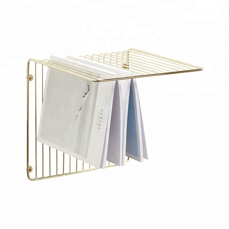 Quality assurance Nordic decorative wall metal wire magazine newspaper rack display for sales
