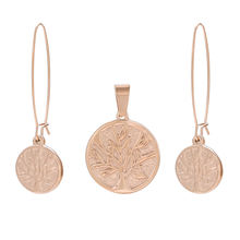 S-222 Xuping bijoux femme jewelry tree of life design earring and pendant rose gold women stainless steel jewelry set