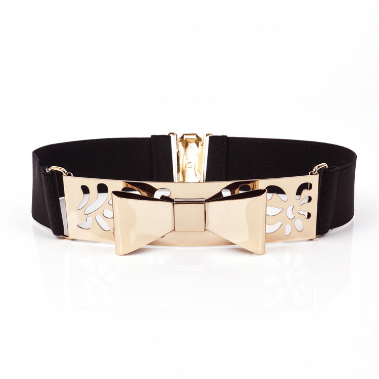 KDA8925 Women Metal Elastic Belt with Gold Buckle