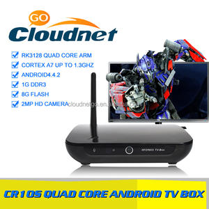 Cloudnetgo cr10s hoge hoeveelheid goedkope dual core cpu rockchip rk3128 tv box met hd camera en set-top box iptv gratis films