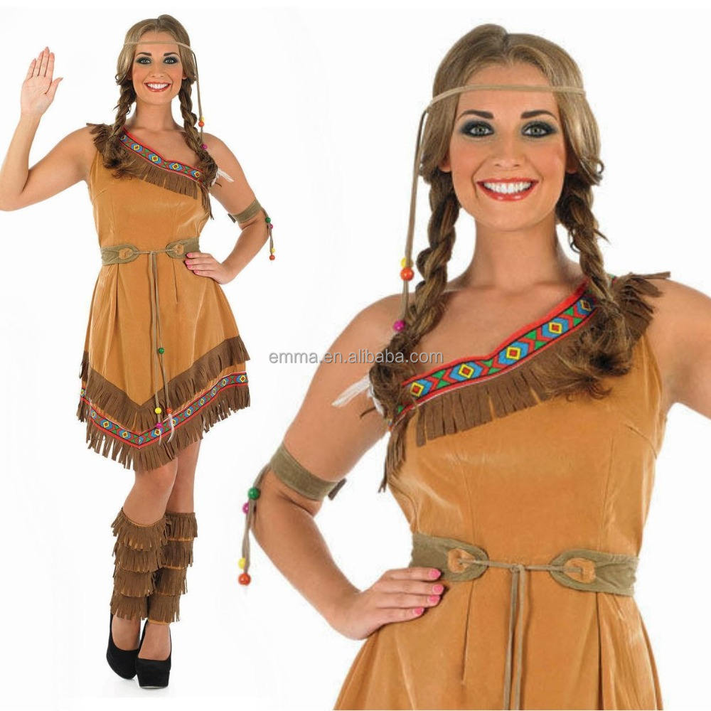 Ladies Womens Red Indian Adult Fancy Dress Costume Pocahontas Native American BN