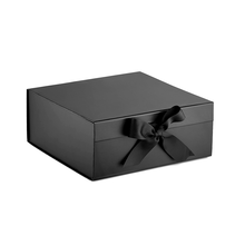 Large luxury custom foldable  magnetic black white paper cardboard hamper gift box with ribbon